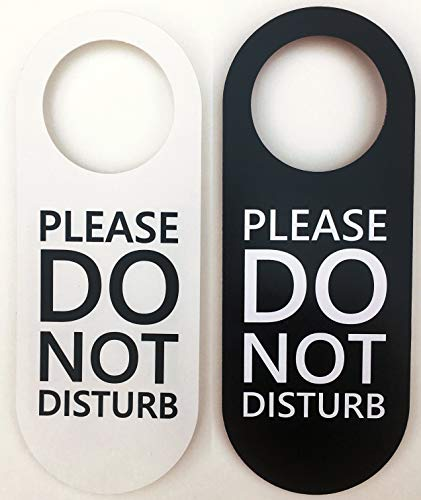 Do Not Disturb Door Hanger Sign 2 Pack (Black and White, Double Sided) Please Do Not Disturb on Front and Back Side, Ideal for Office Home Clinic Dorm Online Class and Meeting Session