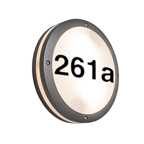 QAZQA Modern Buitenwandlamp antraciet met huisnummer IP54 - Glow Aluminium/Kunststof Rond Geschikt voor LED Max. 2 x 18 Watt