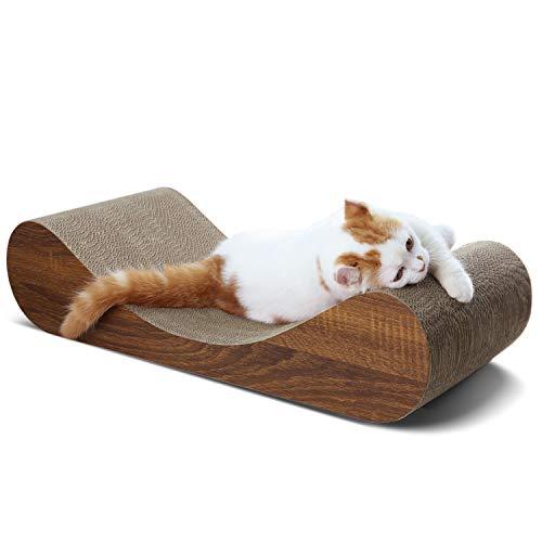 ScratchMe Cat Scratcher Cardboard Lounge Bed, Cat Scratching Post with Catnip, Durable Board Pads Prevents Furniture Damage