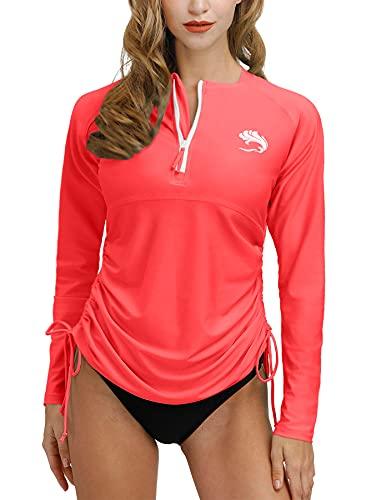 BesserBay Damen UV Tshirt Rash Guard Schwimmshirt UV Shirt Langarm Lycra Shirt Badeshirt T-Shirt UV-Schutz 50+ Wassermelone Rot