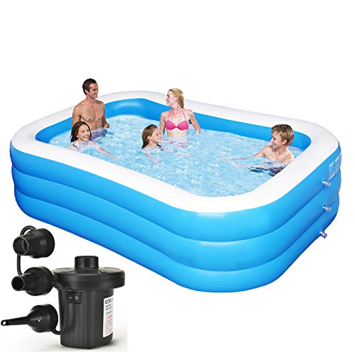 "Inflatable Swimming Pool Family Full-Sized Inflatable Pools 118"" x 72"" x 22"" Blow Up Rectangular Large Above Ground Pool Floats for Lounging Outdoors, Backyard for Baby, Included Electric Air Pump"