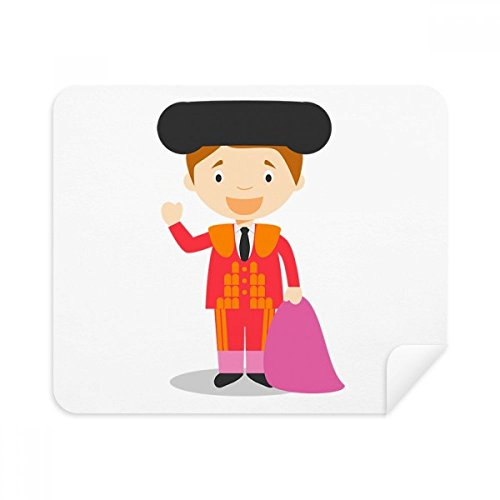DIYthinker Rot Lila Torero Cartoon Phone Screen Cleaner Gläser Reinigungstuch 2Pcs Suede Fabric