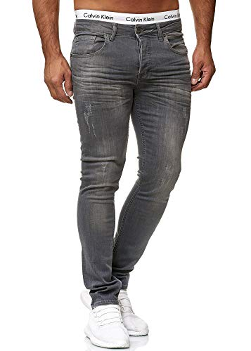 OneRedox Designer Herren Jeans Hose Slim Fit Jeanshose Basic Stretch 609 Steel Grey Used 36/32