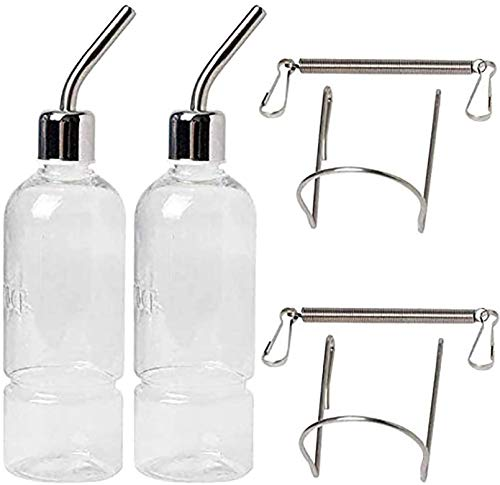 PINVNBY Small Animal Water Bottle Hamster Hanging WaterersBunny Water Nippers Drinking for Ferret Guinea Pig Rabbit Chinchillas 2 PCS