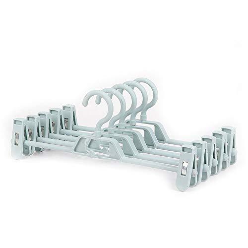 Paquete de 10 ganchos para el hogar con clip de almacenamiento multicapa para pantalones con clip de actualización, color azul