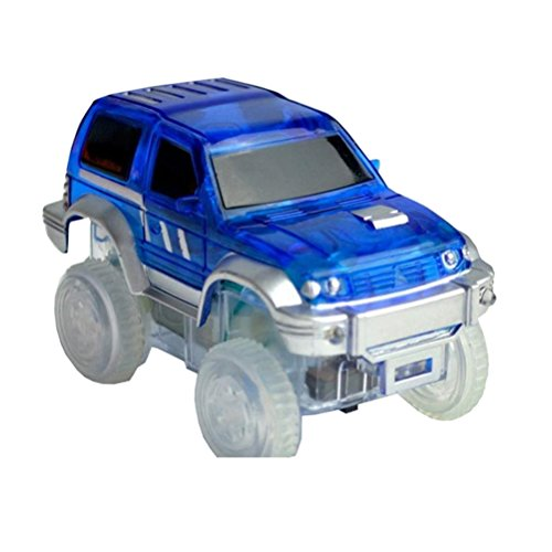 STOBOK Mini-modèle de Voiture Race Truck Truck Toy avec lumières Clignotantes à Del pour Piles Enfants (Bleu)