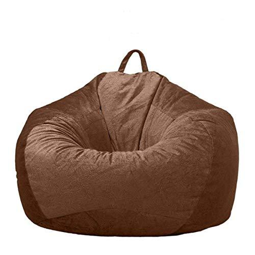 AMGJ Sitzsack Bezug Hülle ohne Füllung, Sitzsackhülle Abdeckung aus Short Plüsch für Kinder und Erwachsene,Braun,90x110cm