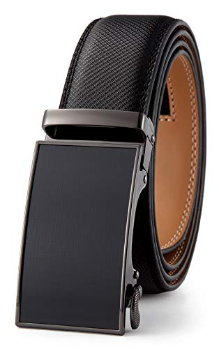 GFG Herren Gürtel,Leder Automatik Gürtel Für Herren Jeans Anzug Gürtel-3,5cm Breite-0088-125-BLACK NA PA