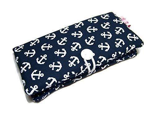 Geldbörse Portemonnaie Geldbeutel Börse Anker blau Stoffwahl