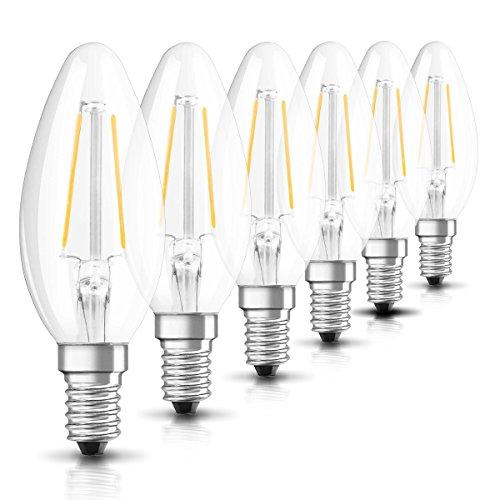 Osram LED Star Classic B Lampe, in Kerzenform mit E14-Sockel, nicht dimmbar, Ersetzt 2.5W = 25 Watt, Filamentstil Klar, Warmweiß - 2700 Kelvin, 6er-Pack
