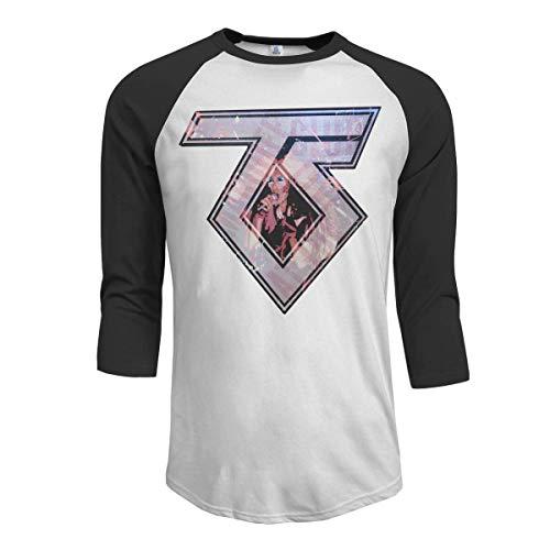Pimkly Camisetas y Tops,Polos y Camisas Hombres Twisted Sister 3/4 Sleeve Raglan Baseball T Shirts Black