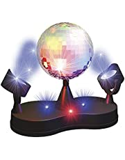 Party Fun Lights Disco spiegelbol, diameter 13 cm, spiegelbol met 2 spots/16 leds en motor