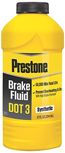 Prestone AS400 DOT 3 Brake Fluid, Synthetic, High Grade, 50,000 Mile, 12 oz.