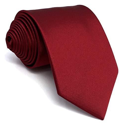 shlax&wing Boda Nuevo Hombre Corbatas Para Seda Color Sólido Rojo Extra largo