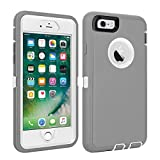 iPhone 6/6S Case Shockproof High Impact Tough Rubber Rugged Hybrid Case Silicone Triple Protective Anti-Shock Shatter-Resistant Mobile Phone Case for iPhone 6/6S 4.7'(Gray-White)