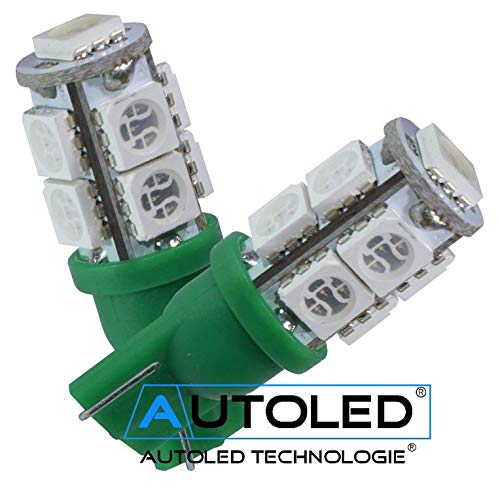 Autoled 0019 LED-lampen, T10, 9 tabletten SMD5050, groen, 2 stuks
