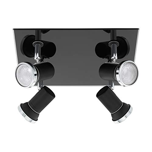 EGLO Deckenlampe Tamara 1, 4 flammige Deckenleuchte Modern, Klassisch, Deckenstrahler aus Stahl und Glas, Wohnzimmerlampe in Schwarz, ,Chrom, Klar, Küchenlampe, Badezimmer Spots mit GU10 Fassung, IP44