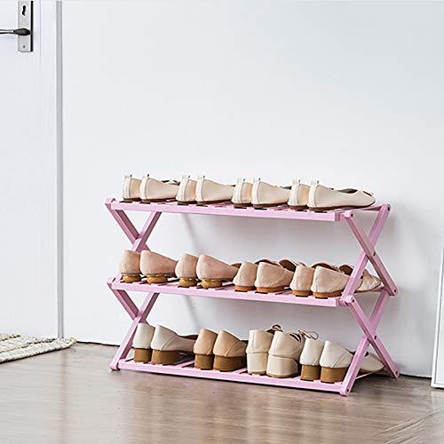 Estante Vertical De Zapatos De Bambú De 3 Niveles,Plegable Organizador Ligero De Almacenamiento De Estantes De Zapatos,Estante De Zapatos Para El Armario Del Pasillo De Entrada-Rosa. 68x25x46cm(27x10x