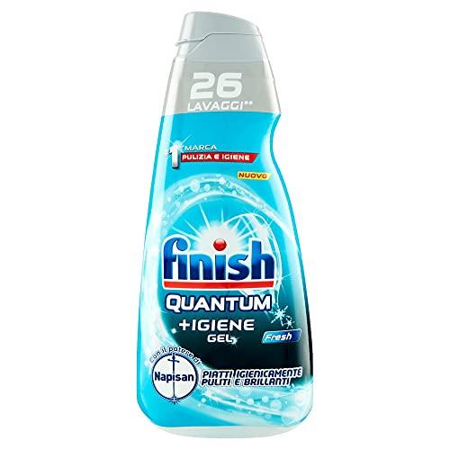 Finish Quantum +Igiene Gel, Gel Detersivo Per Lavastoviglie Liquido Con Il Potere Di Napisan, Multiazione, Fresh,26 Lavaggi, 560 ml