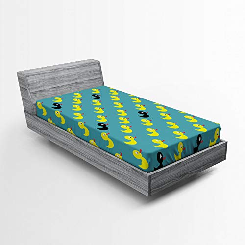Lunarable Duckies Fitted Sheet, Abstract Bathroom Toy Pattern a Black Rubber Duck Among Yellow Ones Theme, Soft Decorative Fabric Bedding All-Round Elastic Pocket, Twin Size, Teal Yellow