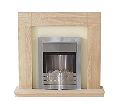 Adam Malmo Electric Fireplace Suite Oak with Helios Electric Fire, 2000 Watt
