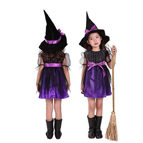 QYSHH Halloween, Cosplay, Disfraces Infantiles, Disfraz Bruja de Halloween para Nias Cosplay Nia Vestidos y Sombrero Bruja, Vestido Princesa + Sombrero de Bruja