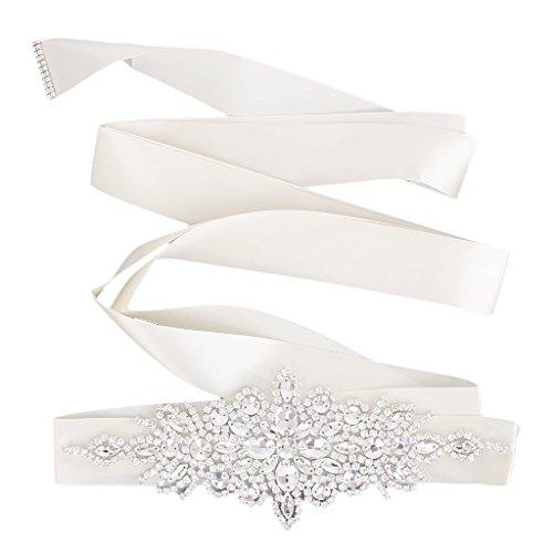 Braut Hochzeitskleid Gürtel Schärpe Kristall Strass Funkeln Band Binden - Cremeweiß