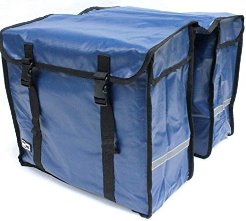 große 46 liter TREKKING FAHRRADTASCHE GEPÄCKTASCHE Doppelpacktasche aus BISONYL (Blau)