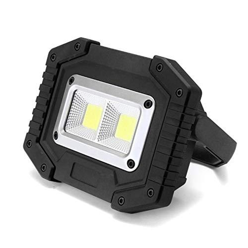 WULE-RYP 30W 2 COB LED Portatile riflettore Portatile Ricaricabile Luce di Lavoro a Caccia di Campeggio Lampada da Campeggio Floodlight Searchlight 18650 Batteria (Emitting Color : 3000lm Black)