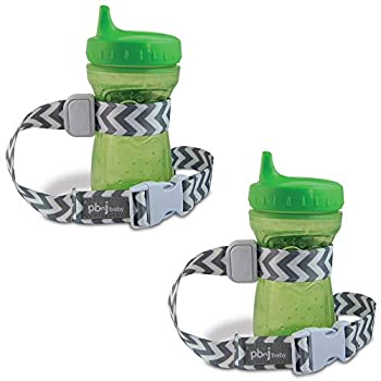 PBnJ Baby SippyPal Sippy Cup Holder Strap Leash Tether  Gray Chevron 2-Pack