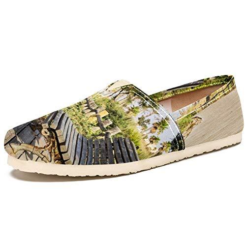 TIZORAX Slip on Loafer Schuhe für Frauen Park Holzstuhl Bequem Casual Canvas Flache Bootsschuhe, Mehrfarbig - mehrfarbig - Größe: 39 EU