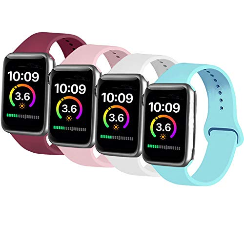 AK Cuatro Correas Compatible con Apple Watch 44 mm 38 mm 42 mm 40 mm, Correa de Silicona Suave de Repuesto para Apple Watch Series 5, Series 4, Series 3, Series 2, Series 1