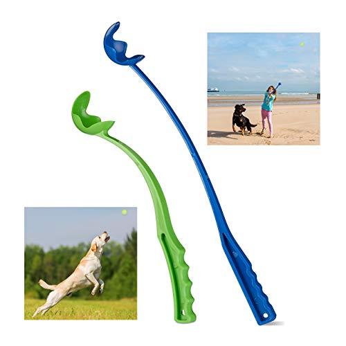 Relaxdays Ballschleuder für Hunde, 2er Set Ballwerfer, Wurfschleuder für Tennisbälle, Wurfarm, Hundespielzeug, blau/grün