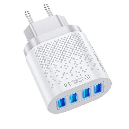 YepYes Cargador del Enchufe de teléfono USB, 4 Puertos 3A Adaptador de Enchufe de Red con tecnología de Carga rápida para iPhone 12 Mini Pro MAX 11 Pro MAX, Galaxy, iPad y más (Clavija Blanca-UE)