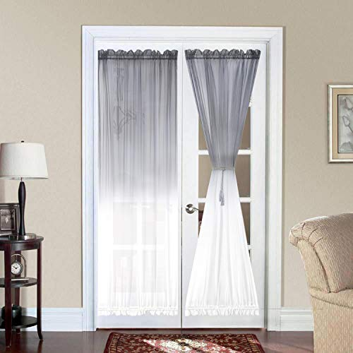 Bermino Ombre French Door Curtains, Faux Linen Voile Rod Pocket Semi Sidelight Curtain for Living Room Patio Sliding Glass Door Window Set of 2 Panels 25 x 72 inch Grey Gradient