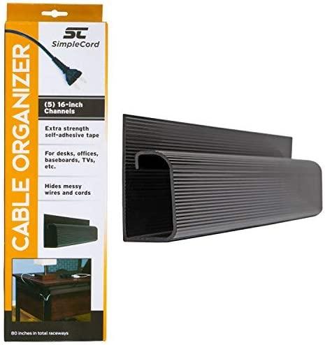 J Channel Desk Cable Organizer by SimpleCord – 5 ft Black Raceway Channels - Cord Cover Management Kit for Desks, Off...