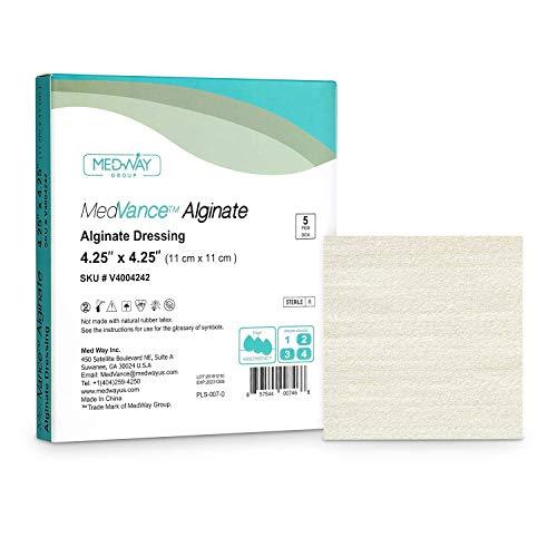 MedVanceTM Alginato - Apósito de alginato de calcio 11 cm x 11 cm, caja de 5 apósitos