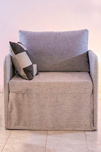 Ponti Divani - Poltrona letto COMPACT salva spazio - poltrona letto artigianale, made in Italy con materasso in poliuretano espanso italiano di alta qualità - Poltrona letto singolo - Tessuto (grigio)