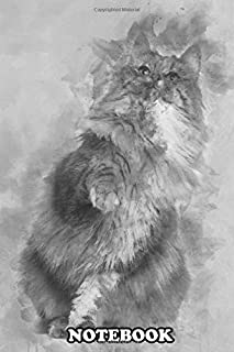 Notebook: Norwegian Forest Cat 1 And A Half Years Old Sitting , Journal for Writing, College Ruled Size 6