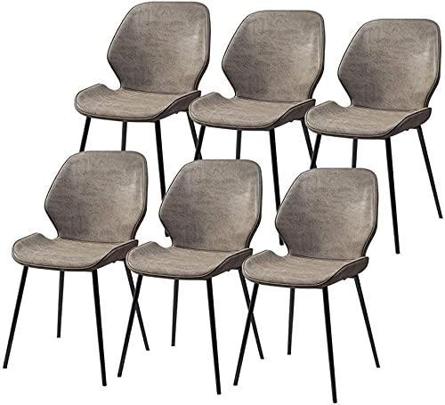 VEESYV Juego de 6 sillas de comedor, respaldo de poliuretano y patas de metal, para sillas de comedor y sala de estar (color gris)