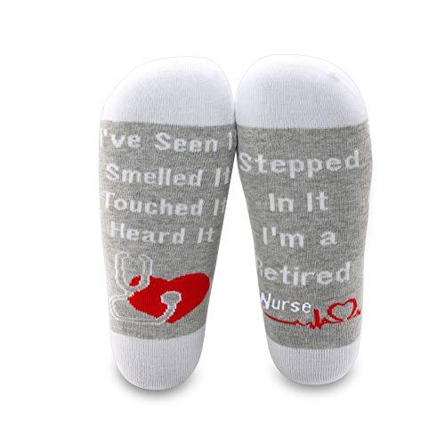 MBMSO 2 Pairs Retired Nurse Socks Funny Nurse Retirement Gifts Socks Novelty Nurse Retired Gifts Nursing Retirement Gifts (2 Pairs Retired Nurse Socks)