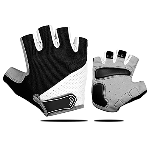 JTXQSI Summer Cycling Gloves Shockproof Thicken Pad Half Finger Cycling Gloves For Sport Hiking MTB Motorcycle Bike Gloves (Color : Black, Size : L)