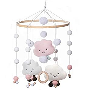 MMH Handmade Wood Mobile Bed Bell with Colorful Pattern Cotton Ball Mobile Baby Crib Bassinet Creative Hanging Toys with Wood Ring Nursery Room Decoration Perfect Shower Gift for Newborn
