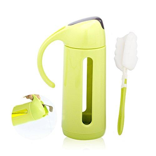 irayer Olivenöl Spender Flasche, 11Oz/320ml Öl Flasche Glas mit Kein Drip, Olivenöl Flasche verwendet für Küche,, Soja, Sauce Flasche, Essig Flasche, Küche Würzmittel für automatische Gap. grün