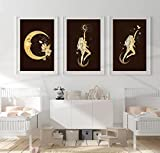 SHKJ Carteles de Diosa Dorada con Luna, Estrellas y Estampados de colibríes mágicos, decoración del hogar Bohemia y galería clásica 60x90cm / 23.6'x35.4 X3 Sin Marco
