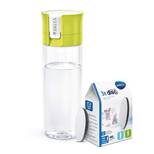 BRITA Fill&Go - Botella de agua de 0,6 l con filtro MICRODISC, color lima + BRITA MicroDisc - Cartuchos de filtro para botella de agua 150 l