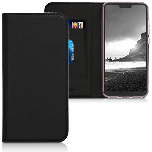 kwmobile Funda Compatible con Xiaomi Redmi 6 Pro/Mi A2 Lite - Carcasa de Cuero sintético - Case Plegable en Negro