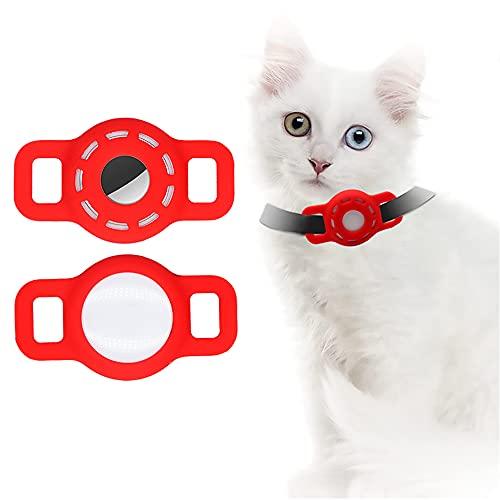 Airtag Funda de Silicona para Collar de Mascotas, Funda Airtag con película Protectora HD de Alta Transparencia, Buscador GPS portátil Ajustable para Collar de Perro y Gato 2 PCS (2-Rojo)