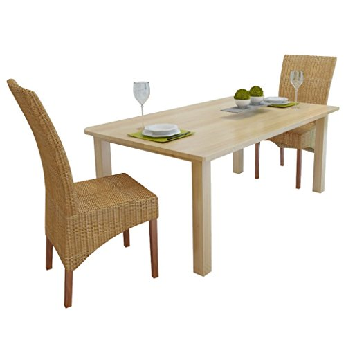 Festnight Lot de 2 chaises de Salle à Manger en rotin en Style Vintage 47 x 50 x 97 cm