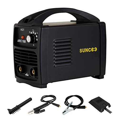 SUNCOO 110V ARC Welder, 160Amp Stick Welder Portable MMA AC Welding Machine with Work Clamp, Brush & Mask, Black